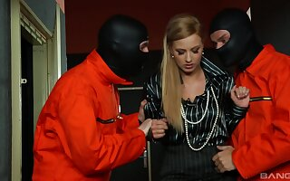 Masked dudes share this blonde hottie in a crazy trio