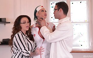 Female alloy and her slutty nurse, huge cock parceling out program