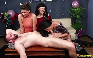 Clothed women play with beefy dick at holy day corps