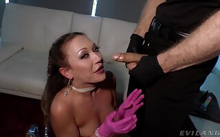 Dirty slut Adira Allure plays with the brush pussy and gets fucked