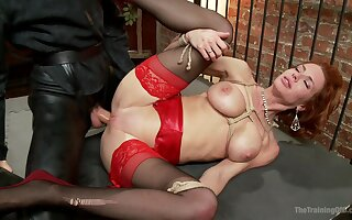 Redhead with huge tits, nasty role stance together with abysm hardcore sex