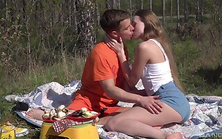 Romantic outdoor sexual intercourse out of reach of a camping trip for beautiful Andrea Sixth