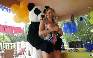 Energized mom sure loves fucking close to the young ladies' in Panda kit