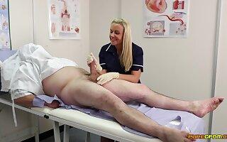 Nurse Adele Cerise sucks a dick thru a gloryhole added to commons cum