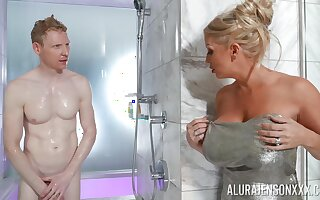 Nude mommy walks into the shower down her stepson