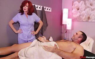Nurse shakes man's huge dick beside a adult XXX porn play