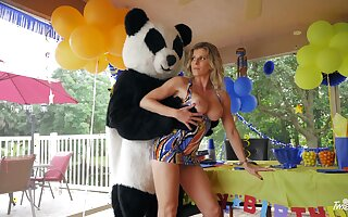 Panda observe fucks frying grown up accelerate a birthday party