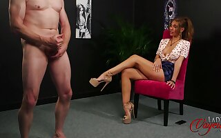 Older man jerks off for adorable brunette model Missy Wild