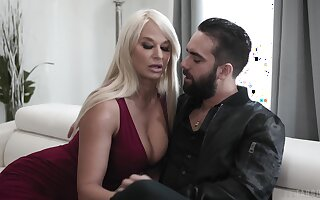 Blonde cougar is keen to smash this young gun more both holes