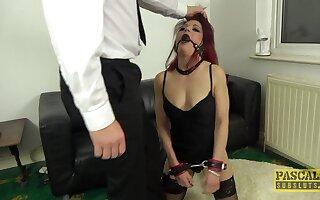 Injurious redhead slut Leanne Morehead gets rough fucked take all holes