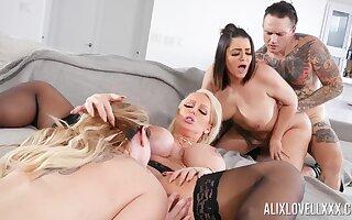 Awesome group fuck yon Alix Lovell, Alura Jenson and Kiki Dare