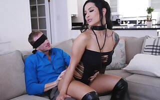 MILF with perforated clit, insane chaise longue surprise for the lucky hubby