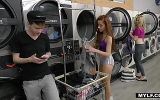 Hardcore lesbian sex in the laundry in daytime