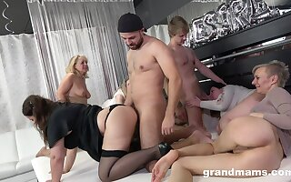 A align of horny grown up body of bodies hire two young bodies to fuck them