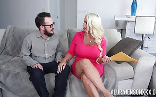 Hot cougar with thick ass, insane couch lovemaking with a younger male