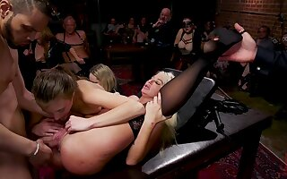 Hardcore threesome sex in one private club be beneficial to perverts