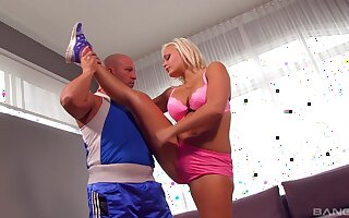 Man's huge inches provide the fit blonde with the deepest sex