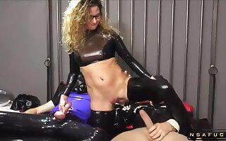 Arbitrary German MILF Assfucking BDSM Latex 3Some Orgy
