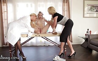 Young homoerotic squirts after triptych sex with two experienced women