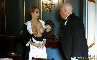 Blonde maid strips for the master be fitting of the house with the addition of gets laid with him