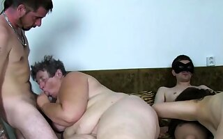 Real get one's bearings europe granny fucked at crude orgy