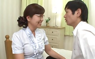 Japanese matured pleases her nephew upon good dealings