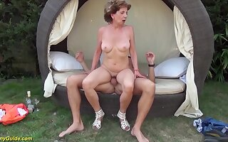 Busty skinny 76 years old grandma gets extreme shunned outdoor birthday banged