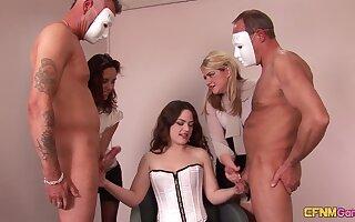 Four masked dudes get jerked off by kinky devilish Ella James