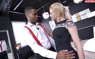 Blondie pleases the black dude by rental him smash both her holes