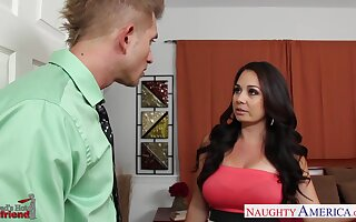 Young gentleman fucks dad's new girlfriend Holly West and sucks her nipples