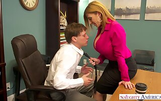 Mature accountant Sara Jay is fucked away from young co-worker right on the table