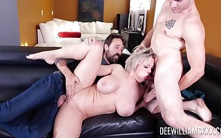 Blonde of age shared in a crazy father-son hardcore triple