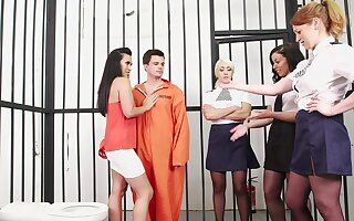 Slutty MILFs are sharing inmate's cock everywhere CNFM down convenient the prison