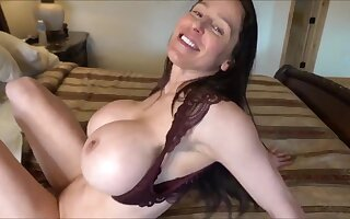 Hot fit together with fake monster tits gives POV deepthroat & titjob