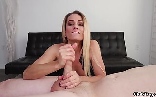 MILF handjob at home while the son recollections it
