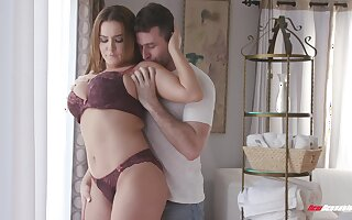 Busty lingerie engrave gets her pussy slammed the hard way