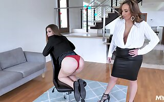 MILF shares passionate femdom moments with reference to younger slut