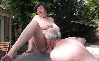 Mature sex - Water Board Inspector Returns - threesome with old fat ass grandma