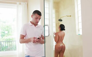 Sweet MILF with thick ass, crazy home porn with the stepson