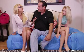 Throating the girlfriend coupled with her slutty mom