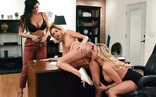 Astounding babes share the office for lesbian intimacy