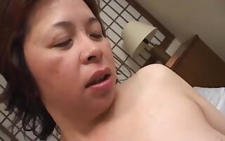 Mature BBW Japanese woman devils threesome debut