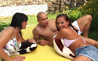 Lucky guy fucks his girlfriend Nataly and her best friend Petrina