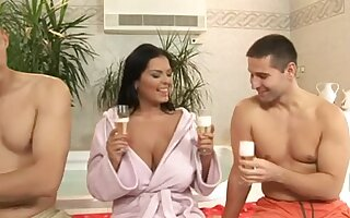 Horny Spanish Milf Fucks With Two Young Guys