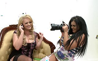 Extraordinary lesbian Jasmine Black uses a dildo to please a girl