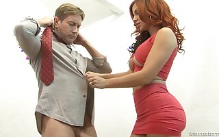 Redhead milf Savana Styles gets her fake tits covered with cum