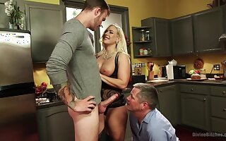 Angel Allwood is between her handsome friends during a rough threesome