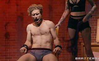 Pornstar Gina Valentina in fishnet stockings pleasures tied up guy