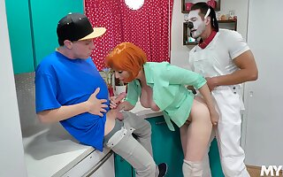 Weird threesome fucking with two guys and redhead Lauren Phillips