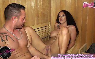 german amateur latina milf with big tits fuck in sauna until creampie